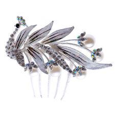 Accessoires Blanc Cheveux Mariage Diamant Brillant Paon Corsage Peigne HA159