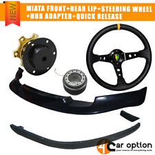 Fit 90-97 Miata Front+Rear Bumper Lip+Steering Wheel+Hub Adapter+Quick Release