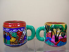 Costa Rica Mexico South Latin American Pottery Hand Painted Clay Folk Art Mugs