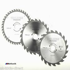 190MM TCT CIRCULAR SAW BLADES X 3PC 20, 24 & 40 TEETH 16mm hole centre