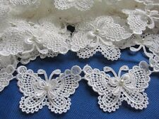 "2y Butterfly 3"" Pearl  Lace Edge Trim Pearl Wedding Applique DIY Sewing Crafts"
