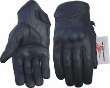 Drum Dyed Leather Summer Motorcycle Gloves Black Red White & Blue - PWVests.com