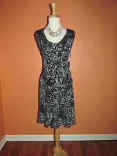 New Calvin Klein Size 10 Black Gray Lace Print Fit and Flare Knit Dress
