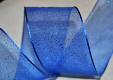 "RIBBON QUEEN BLUE GLITTER ORGANZA WIRED WIRE EDGED RIBBON  1.5""  Christmas etc"