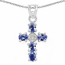 Collier/Halskette mit Diamant/Tansanit-Anhänger-0,87 Karat