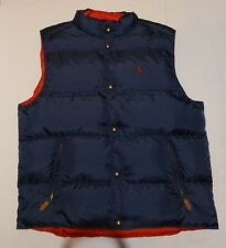 NEW POLO RALPH LAUREN MENS PUFFER DOWN REVERSIBLE VEST NAVY/ RED BIG  TALL XLT