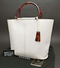 Authentic CHANEL Off White Caviar Leather Hand Tote Bag Purse #23454