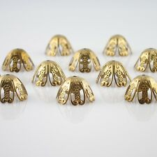 PACK OF 12! 15 mm Nickel Free Raw Yellow Brass Gold Color Bead Cone Caps