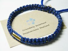 Thai Wristband Friendship Bracelace Fair Trade Good Karma Blue Takrut