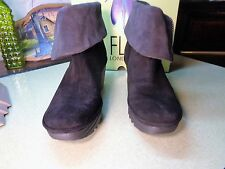 FLY London Leather Foldover Boots W/Side Zip YEX OIL SUEDE BLACK  39 (8-8.5)