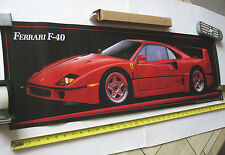 "FERRARI F40 Italian Sports Car Vtg POSTER 36x11.5"" NOS 1990 MINT in Original Box"