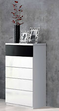 Alonza Bedroom Chest of 5 Drawers Melamine White Gloss with Black Contrast Panel
