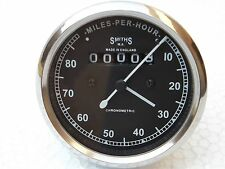 NEW REPLICA SMITHS SPEEDOMETER 80 Mph BSA ENFIELD - fast shipping