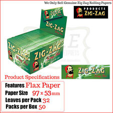 Zig Zag Green Kingsize Cigarette Smoking Papers - One Full New Box