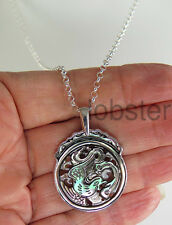SAJEN BIRD SERPENT DRAGON CARVED MOTHER OF PEARL PENDANT 925 Sterling Silver