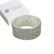 9Row Fashion Crystal Rhinestone Stretch Bracelet Bangle Wedding Bridal Wristband