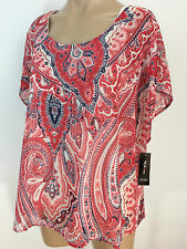 Style & Co. Printed Layered Embellished Top Spinning Paisley RED Size Large
