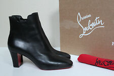 sz 9 / 39.5 Christian Louboutin Tiagada Black Leather Red Sole Ankle Boot Shoes