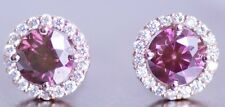 Fancy Pink Natural Diamond 0.75 carat 14k white gold Stud Earrings Real Image