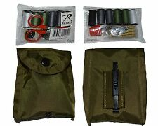 GI Style Sewing Kit in  Military Compass Pouch Olive Drab w belt clip NEW