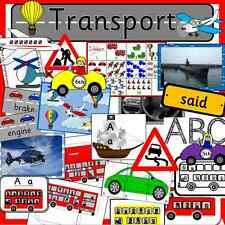 TRANSPORT topic resource pack on CD- EYFS, KS1, teaching, childminder, journeys