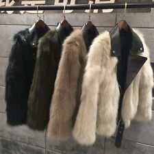 GENUINE REAL LONG  5 Colours  FOX FUR Bike Jacket With Leather Collar