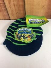 New Skylanders Swap Force Boys Winter Hat One Size Blue Green Stripe Brim