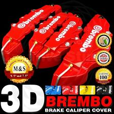 3D Red Brembo Style 4pcs Front & Rear Universal Disc Brake Caliper Cover PM
