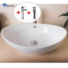 Bathroom Oval Ceramic Vessel Sink Bowl Pop-up Drain Faucet Combo Overflow Hole