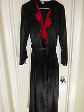 JONES NEW YORK Black Red Floral Lace Long Sleeve Long Robe Size M