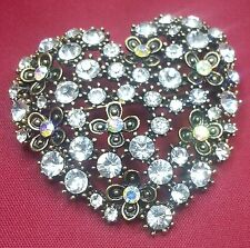 Summer Special Stunning Diamonte Vintage Style Gold Plated Heart Brooch Cake Pin