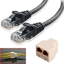 2Pcs 3m RJ45 Cat5e Ethernet Network Patch Cable + 1x 3 Port Y Splitter Coupler