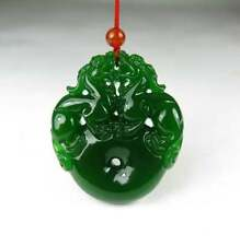 Exquisite China natural green jade hand carved pendant Free Necklaces Two brave