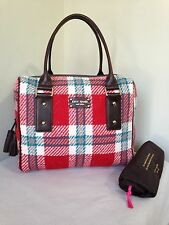 Kate Spade Ruby Park Damien Large Satchel Tote Travel Bag Red Turquoise Plaid