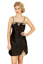 Luxurious Pure Mulberry Silk Lace Temptation Chemise NEW With Gift Box Size L