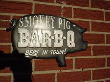 BAR-B-Q   SMOKEY PIG~ BEST IN TOWN! EMBOSSED RAISED METAL