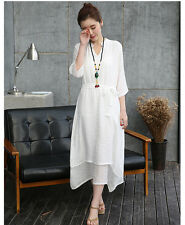 Womens Casual Loose Cotton Linen A-Line Belted MAXI Shirt Summer Party Dress