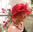 Damenhut traumhafter Organzahut Rubinrot Anlasshut Hochzeit Ascot Anlasshüte