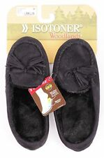 $32 Isotoner Woodlands Outdoor Scuffs Furry Fuzzy Slippers Black S Women's 5 6