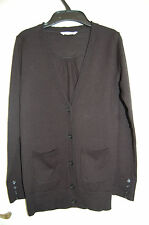 Long Black 100% Marino Wool V Neck Cardigan Marks & Spencer Age 9-10 Years NWOT