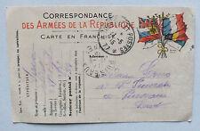 CORRESPONDANCE DES ARMEES DE LA REPUBLIQUE - CARTE EN FRANCHISE - WW1 - 1915 *