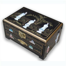 BLACK LACQUER MOTHER OF PEARL JEWELLERY BOX WITH CHINESE LOCK, LADIES DESIGN
