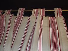 JC PENNEYS TAB TOP CURTAIN PANEL RED BEIGE STRIPES TICKING 39X82