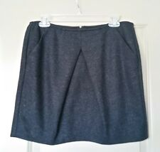 CAbi Style 629 Andy's Modern Mini Skirt Charcoal Inverted Front Pleat Pockets 6