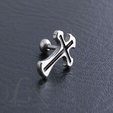 1 piece Men's Cool Black Cross Stainless Steel Earring Ear Stud Punk Hip-hop C10