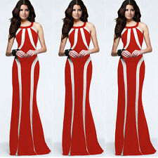 Women Boho Long Maxi Evening Party Dress Beach Dresses Chiffon Dress Red Size L
