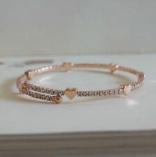Brand New 18K Rose Gold Plated Bracelet Bangle Cubic Zirconia Open adjustable