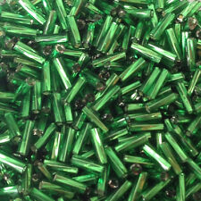 50g glass Twisted bugle beads - Green Silver-Lined - approx 6mm tubes, craft