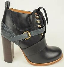 Chloe Black & Gray Leather Lace Up Oxford Ankle Bootie Heels Shoes 40.5 10 $1495