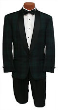 Vintage Mens 34R Black Watch Plaid Navy & Green 1 Btn Shawl Tuxedo Jacket
